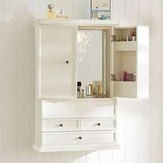 Hannah Beauty Wall Cabinet (this would actually be in my room, but it would hold a lot of stuff that is currently living under my sink) Bathroom Wall Storage, Wall Storage Cabinets, Bathroom Wall Cabinets, Cabinet Drawers, Bathroom Sets, Bathroom Storage, Small Bathroom, Cabinet Doors, Master Bathroom