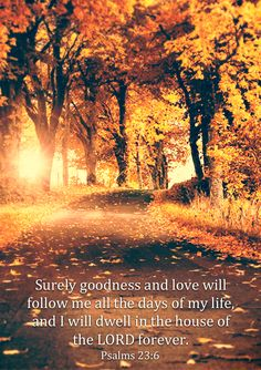 Surely goodness and love will follow me all the days of my life, and I will dwell in the house of the Lord forever. (Psalm 23:6)