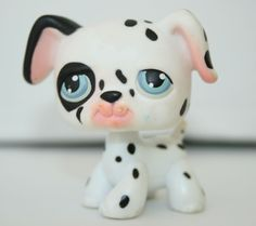 Littlest Pet Shop LPS #44 Dalmation Puppy Dog White Black  Blue Eyes Hasbro  #Hasbro