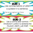 FREE - 7 pages - Here's quick and easy way to teach or review 6 simple comma rules. Introduced the rules to students and give examples of each one. Laminate and cut out the rules posters for reference. There is also a two page review that can be used as a station activity or a homework as well as a quick check to be used to see how well students are grasping the concept.
