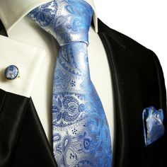 Gentlemen:  #Gentlemen's #fashion ~ Paul Malone Blue Paisley Silk Necktie Set.