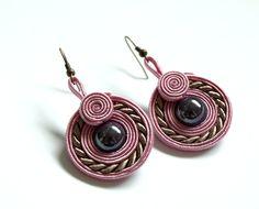 Soutache round earrings, dusty pink beige purple,delicate and elegant earrings, bilateral earrings, christmas gift under 20, pastel, minimal. $19.50, via Etsy.