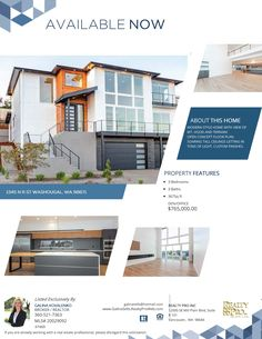 New Listing! Real Estate for Sale: $765,000-3 Bd/2.1 Ba Beautiful Two Level Custom River View Place Contemporary Style Mtn View Home on .18 Acre Lot at: 1345 North R Street, Washougal, Clark County, WA! Area 33. Listing Broker: Galina Kovalenko (360) 521-7363, Realty Pro Vancouver, WA! #ezRealEstateFlyers #RealEstate #NewListing #MoveInReady #WashougalRealEstate #RiverViewPlaceRealEstate #RiverViewPlace #ExceptionalRealEstate #ContemporaryRealEstate #CustomRealEstate #NewHome #Modern