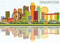 Buy Singapore Skyline with Color Buildings, Blue Sky and Reflections. Singapore Skyline with Color Buildings, Blue Sky and Reflections. Business Travel and Tourism Co. Building Illustration, Pencil Illustration, Travel Info, Travel And Tourism, Singapore Map, Skyline Painting, Building Icon, Visual Communication, Business Card Logo