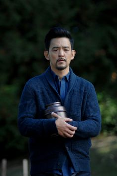 John Cho with knit cardigan in The Exorcist Fox S2E7 still