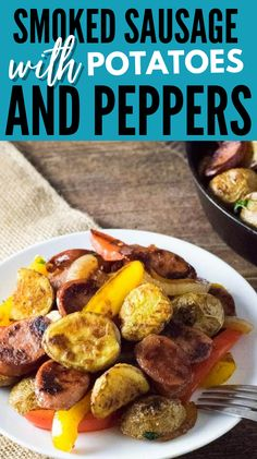 Smoked Sausage with Potatoes and Peppers is a simple and easy dinner idea. Give this flavorful dish a try for dinner or lunch today. #lucnh #smoked #sausage #potato #pepper #dinner #recipes
