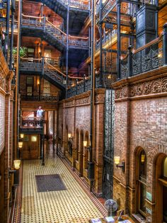 Inside the Bradbury Building in Los Angeles