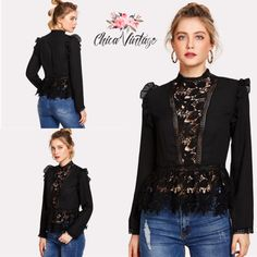 Lose yourself in our chic collection of black lace tops, perfect for any season and event! Shop at Chicavintage.com #lacetop #laceblouse #blouse #womanfashion #fashion #fashionandstyle #blacklace #blackblouse #encaje #blusaencaje #blusa #modafemenina #moda #modaestilo #encajenegro #blusanegra #womanclothing #ropamujer #chicavintage Black Lace Tops, Shirt Blouses, Shirts, Spring Collection, Black Blouse, Clothes For Women, Womens Fashion, Shopping, Moda Femenina