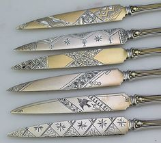 "Blade detail from Tiffany sterling silver ""Japanese"" engraved fruit knives"