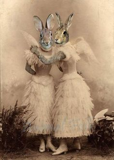 Items similar to Easter ANGEL BUNNY SISTER rabbit Art digital Collage anthropomorphic Print Victorian steampunk fashion Altered Antique Photograph winged on Etsy Costume Chien, Art Zen, Lapin Art, Rabbit Art, Bunny Rabbit, Bunny Art, Funny Bunnies, Animal Heads, Salvador Dali