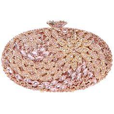 0781873de Bling Crystal Studded Evening Handbag For Women Flower Clutch Purse Rose  Gold * You can find