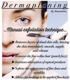 Dermaplaning is a cosmetological procedure aimed at exfoliating of the upper layer of the skin and also removing fine vellus hair (peach fuzz) from the face. Want a smooth, radiant skin without hairs? Then come to a dermaplaning course in London. All Natural Skin Care, Anti Aging Skin Care, Organic Skin Care, Natural Beauty, Facial Treatment, Skin Treatments, Skin Care Center, Esthetician Room, Medical Esthetician