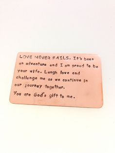 Wallet Insert Card Hand Crafted Copper by FamilyDesignStudio