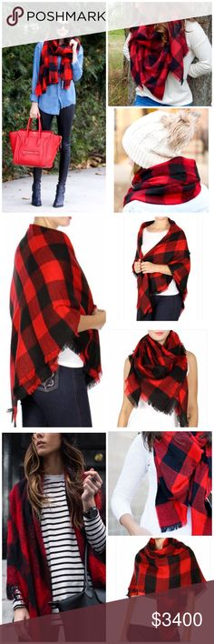 "❣️LAST 2❣️Red & Black Buffalo Plaid Blanket Scarf Bloggers FAV red & black Buffalo Plaid Blanket scarfSo Soft & cozy for fall/wintervery versatile w/ so many different ways to wear (pics 1-5 show some style ideas)%100 SUPET SOFT brushed acrylic, measures approximately 48""x50""frayed style fringe edgeNIP w/o tags, never wornBASC7251-1-0750 Accessories Scarves & Wraps"