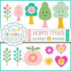 80% off HAPPY TREES clipart kitsch fun kawaii chevron