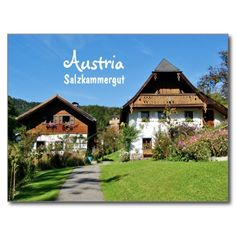 Shop Austria, Salzkammergut - Postcard created by stdjura. Traditional House, Austria, Switzerland, Europe, Mansions, House Styles, Photography, Ideas, Pictures