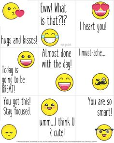 Too Cute! Check out these Free Printable Emoji Lunchbox Notes