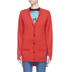 Sonia Rykiel Stripe back staggered hem oversized cardigan ($650) ❤ liked on Polyvore featuring tops, cardigans, red striped cardigan, striped cardigan, red cardigan, red stripe top and oversized tops