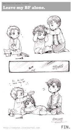 Day 6: Favourite Johnlock Doodle- Not a big Johnlock shipper, love the bromance more, but this pic is super cute. Look at Little Sherlock's face as he holds onto baby John!