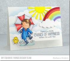 Stamps: Puddle Jumper, Rain or Shine Die-namics: Puddle Jumper, Rain or Shine, Sunny Skies, Stitched Rainbow, Stitched Clouds Stencils: Mini Cloud Edges  Barbara Anders #mftstamps
