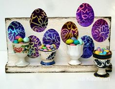Easter egg back-drop for collectible egg cups. @StencilGirl Products #decoart #easter