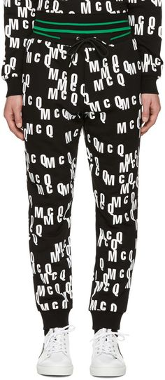 Mcq By Alexander Mcqueen All-over Logo Print Track Pants In Black Alexander Mcqueen Clothing, Mcq Alexander Mcqueen, Mens Sleepwear, Lounge Pants, Pajama Pants, Mens Fashion, Sweatshirts, Cotton, Logo