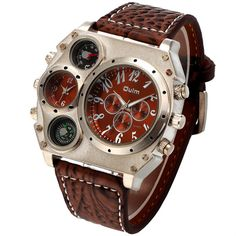 Cheap watches golf, Buy Quality military digital watch directly from China watch cellphone Suppliers: OULM 1349 Fashion Design Compass Watch Men Wide Leather Strap Dual Time Big Face Quartz Watch Relogio Masculino Grande Montre