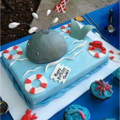 Whale cake for little boy birthday.  SO cute!