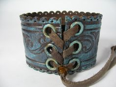 Bohemian Gypsy Leather Cuff Bracelet Turquoise by Vacationhouse