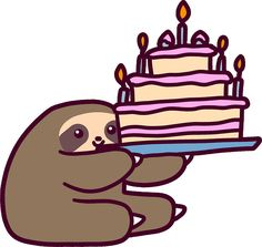 """Birthday cake Sloth"" Stickers by SaradaBoru 