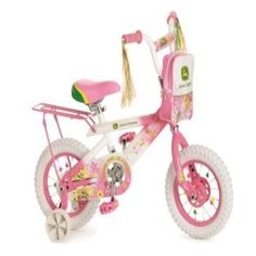 """John Deere 12"""" Girls Bike Pink Kids Outdoor Play Game Ride-on Tricycle Toy New"""