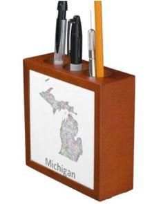 Michigan map desk organizers $30.90