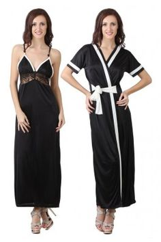 Black Satin 2 Pcs Set of Nighty with Robe #nightywithrobe #blacksatinnightwear #womensfashion #womensnightwear #onlinesleepwearforwomen Shop here-  https://trendybharat.com/black-satin-2-pcs-set-of-nighty-robe-dp101b?search=women%20%20nightwear&page=14