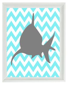 Shark Chevron Sea Creature Art Print Set - Nursery Aqua Gray Children Boy Room  - Beach House Wall Art Home Decor 8x10 Print