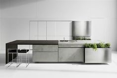 How cool is this? concrete kitchen with wooden top  Concrete kitchen - My Modern Metropolis