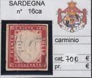 ITALY- SARDEGNA 1860 40c. carminio Sass. 16ac RARO 700€ very fine on eBay for $1.25