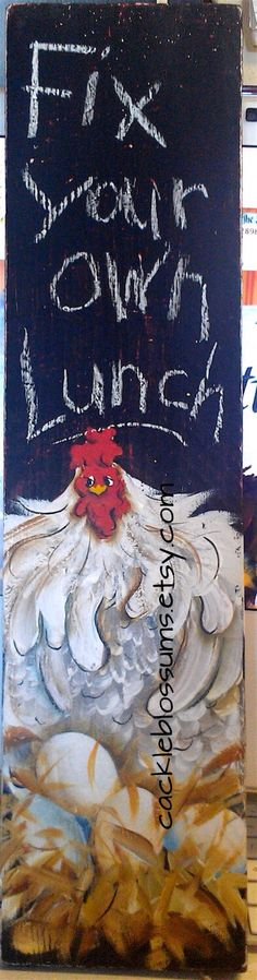 MADE TO ORDER. ALLOW 2-3 weeks for delivery!  5.5 x 21 It is painted on light weight cedar wood. It has this Sassy Chicken painted on it and the