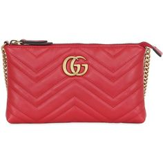 Gucci Women Gg Marmont 2.0 Leather Clutch (47.720 RUB) ❤ liked on Polyvore featuring bags, handbags, clutches, red, chain strap purse, red handbags, real leather purses, genuine leather handbags and gucci handbags
