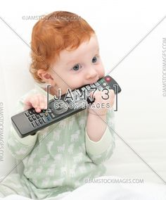 Baby Watching TV  | Stock Royalty Free Image