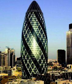 The Gherkin Skyscraper in London.