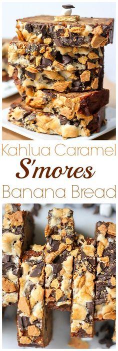 Kahlua Caramel S'mores Banana Bread - this is my FAVORITE banana bread ever!