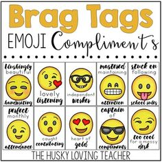 #flamingofriday Emoji Brag Tags Classroom Discipline, Classroom Rewards, Classroom Behavior Management, Classroom Organisation, School Classroom, Classroom Themes, Teaching Tools, Teacher Resources, Brag Tags