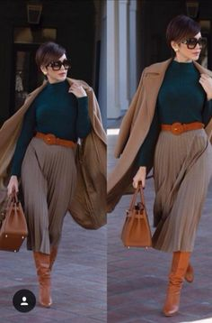 Jupe longe plissée - Bottes - Winter Look Classy Outfits, Chic Outfits, Fashion Outfits, Womens Fashion, Fashion Trends, Fall Winter Outfits, Autumn Winter Fashion, Mantel Styling, Mantel Outfit