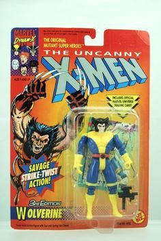 """The Uncanny X-Men 3rd Edition WOLVERINE 5"""" Action Figure (1996 ToyBiz) by Toy Biz. $10.57. Made by Toy Biz in 1996 and long out of production.. Wolverine action figure with Twist-Waist action, Gun and Spring-Out Claws!. Wolverine is part of the X-Men 5 inches tall action figure line.. Includes official marvel universe trading card!. When it comes to fighting Evil Mutants, the X-Men know there's no one better than Wolverine! With his razor-sharp adamantium claws,..."""