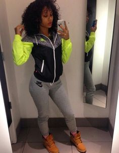 I love her jacket. It would go great with the Nike just do it hyper warm leggings I just bought.