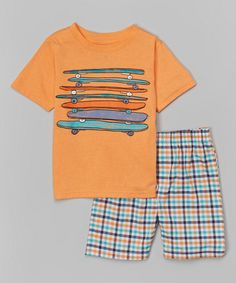 Look at this #zulilyfind! Kids Headquarters Orange Skateboard Tee & Plaid Shorts - Infant & Toddler by Kids Headquarters #zulilyfinds