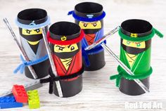 These are super easy to make - work great as a tin can bowling game, but also as fabulous desk tidies and pen pots! Lego Moc, Lego Minecraft, Ninjago Party, Lego Ninjago Movie, Lego Film, Making Of Harry Potter, Activities For Kids, Crafts For Kids, Movie Crafts
