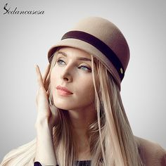 100% Australian Wool Dome Fedora Hat British Style Pure Woolen Bowler Cap Quality Winter Ladies Women's Derby Hats Like and share! #shop #beauty #Woman's fashion #Products #Hat