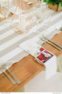 Copper candle holders and table runners featuring beige stripes, were displayed with stationery sporting graphics of bright red flowers. Wedding Favours, Wedding Reception, Reception Ideas, Wedding Stationery Inspiration, Wedding Inspiration, Wedding Ideas, Red Flowers, Colorful Flowers, Copper Candle Holders