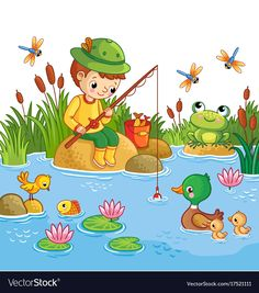 The boy sits on a rock and catches fish in a pond. Vector illustration of a cartoon childlike style wit yoh a lake and ducks. Art Drawings For Kids, Drawing For Kids, Painting For Kids, Cartoon Drawings, Animal Drawings, Easy Drawings, Art For Kids, Crafts For Kids, English Creative Writing